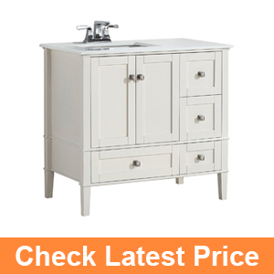 Chelsea 36 Left Offset Bath Vanity with White Quartz Marble Top